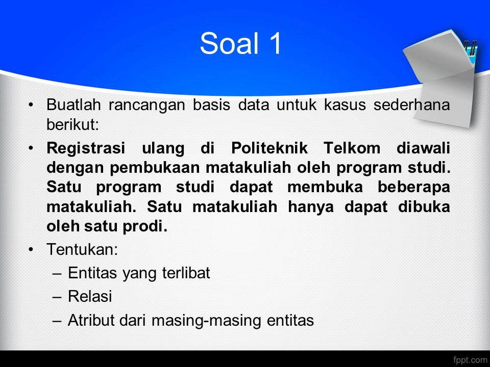Soal 1 Buatlah rancangan basis data untuk kasus sederhana berikut: