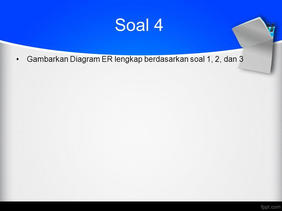Soal 4 Gambarkan Diagram ER lengkap berdasarkan soal 1, 2, dan 3