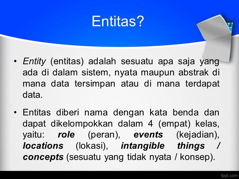 Entitas Entity (entitas) adalah sesuatu apa saja yang ada di dalam sistem, nyata maupun abstrak di mana data tersimpan atau di mana terdapat data.