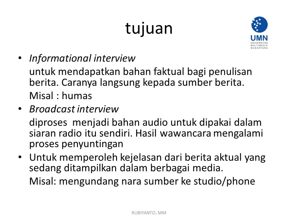 tujuan Informational interview