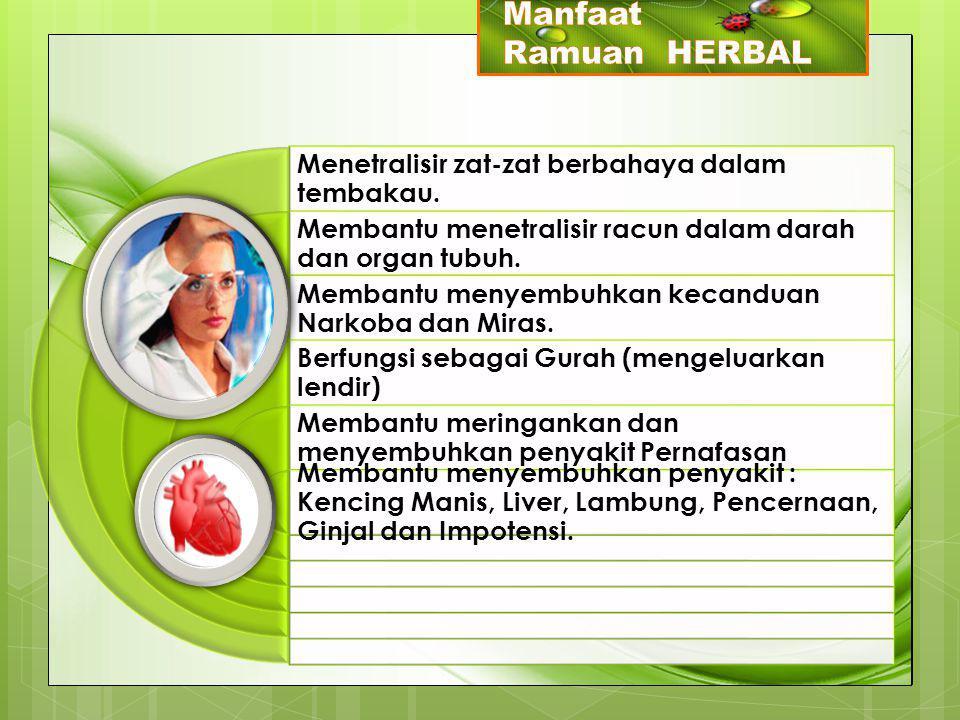 Manfaat Ramuan HERBAL Menetralisir zat-zat berbahaya dalam tembakau.