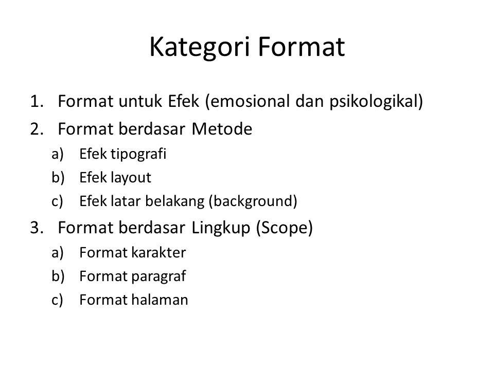 Kategori Format Format untuk Efek (emosional dan psikologikal)