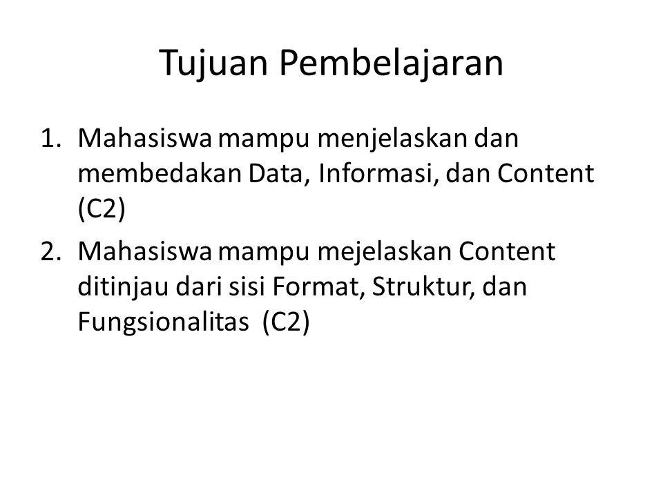 Tujuan Pembelajaran Mahasiswa mampu menjelaskan dan membedakan Data, Informasi, dan Content (C2)