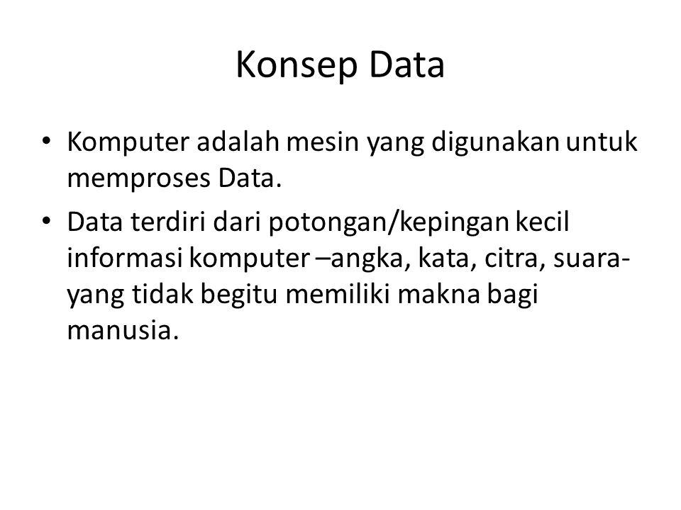 Konsep Data Komputer adalah mesin yang digunakan untuk memproses Data.