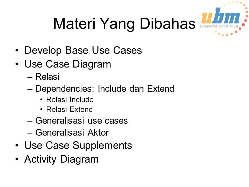 Materi Yang Dibahas Develop Base Use Cases Use Case Diagram
