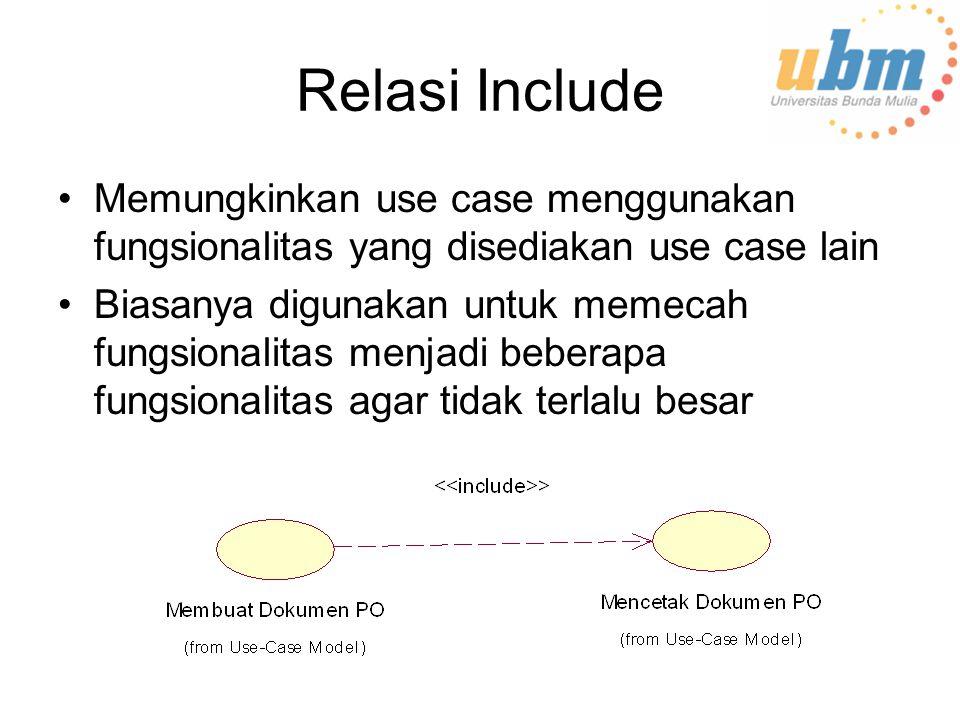 Relasi Include Memungkinkan use case menggunakan fungsionalitas yang disediakan use case lain.