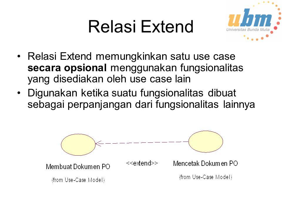 Relasi Extend Relasi Extend memungkinkan satu use case secara opsional menggunakan fungsionalitas yang disediakan oleh use case lain.