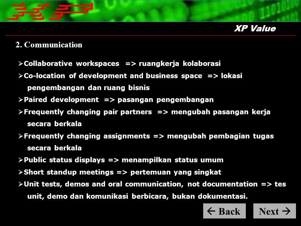  Back Next  XP Value 2. Communication