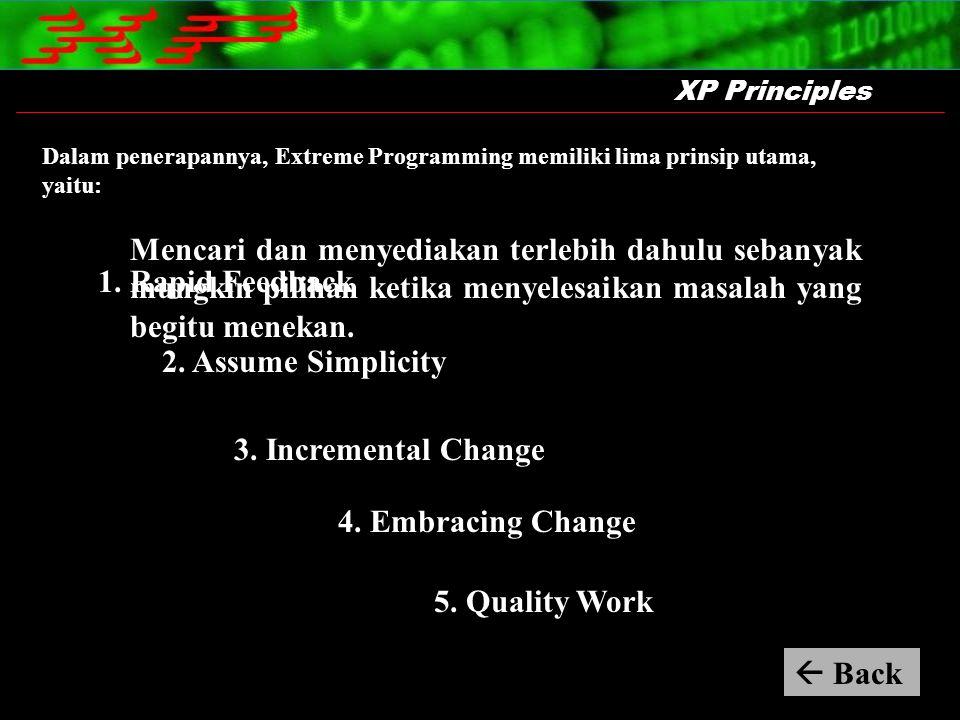 XP Principles Dalam penerapannya, Extreme Programming memiliki lima prinsip utama, yaitu: