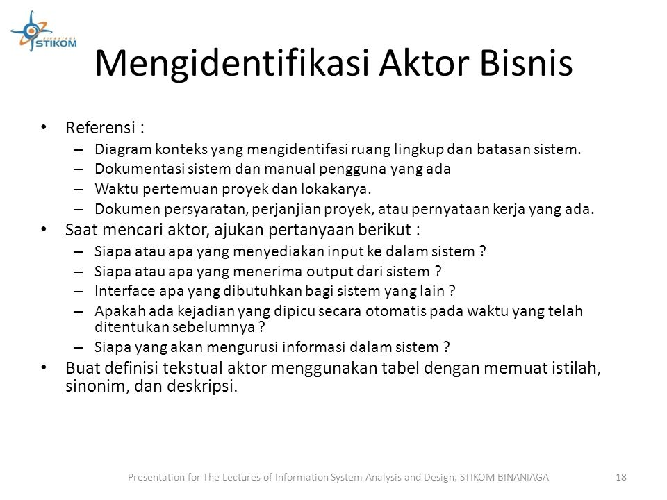 Mengidentifikasi Aktor Bisnis