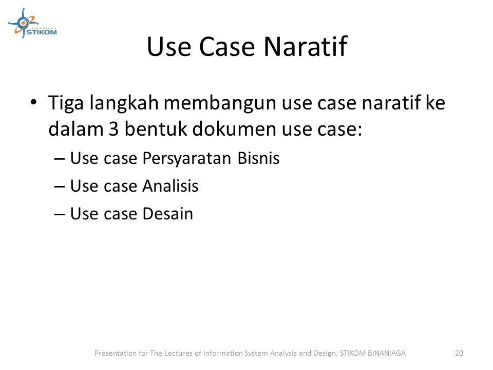 Use Case Naratif Tiga langkah membangun use case naratif ke dalam 3 bentuk dokumen use case: Use case Persyaratan Bisnis.