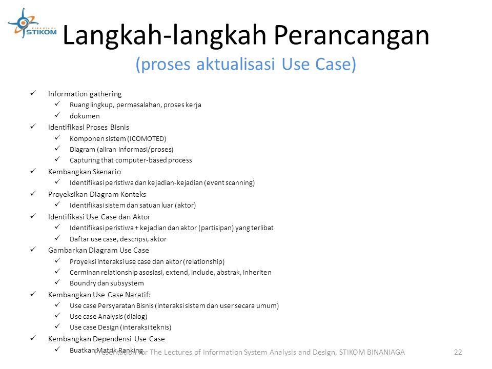 Langkah-langkah Perancangan (proses aktualisasi Use Case)
