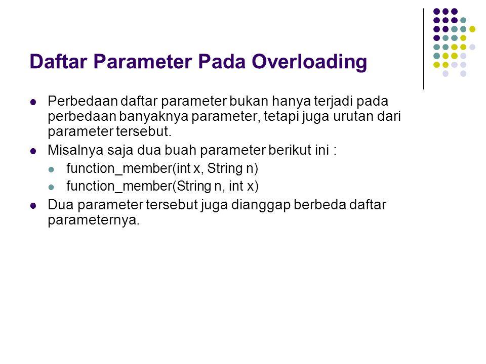 Daftar Parameter Pada Overloading