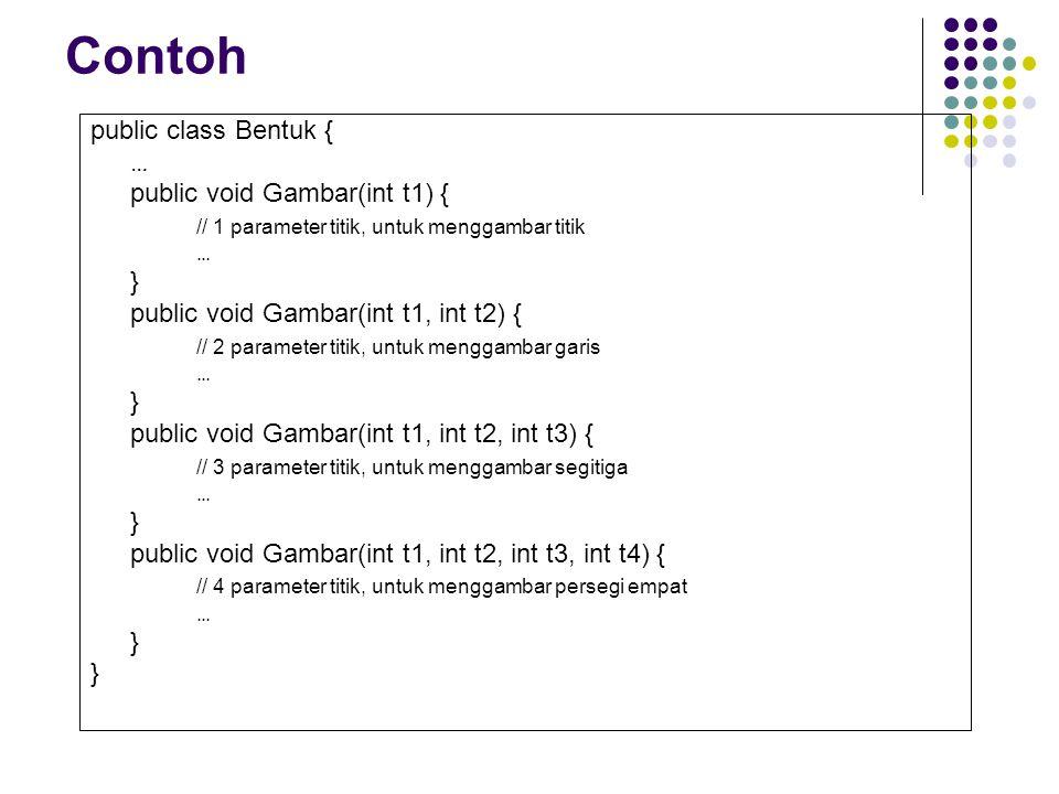 Contoh public class Bentuk { … public void Gambar(int t1) {