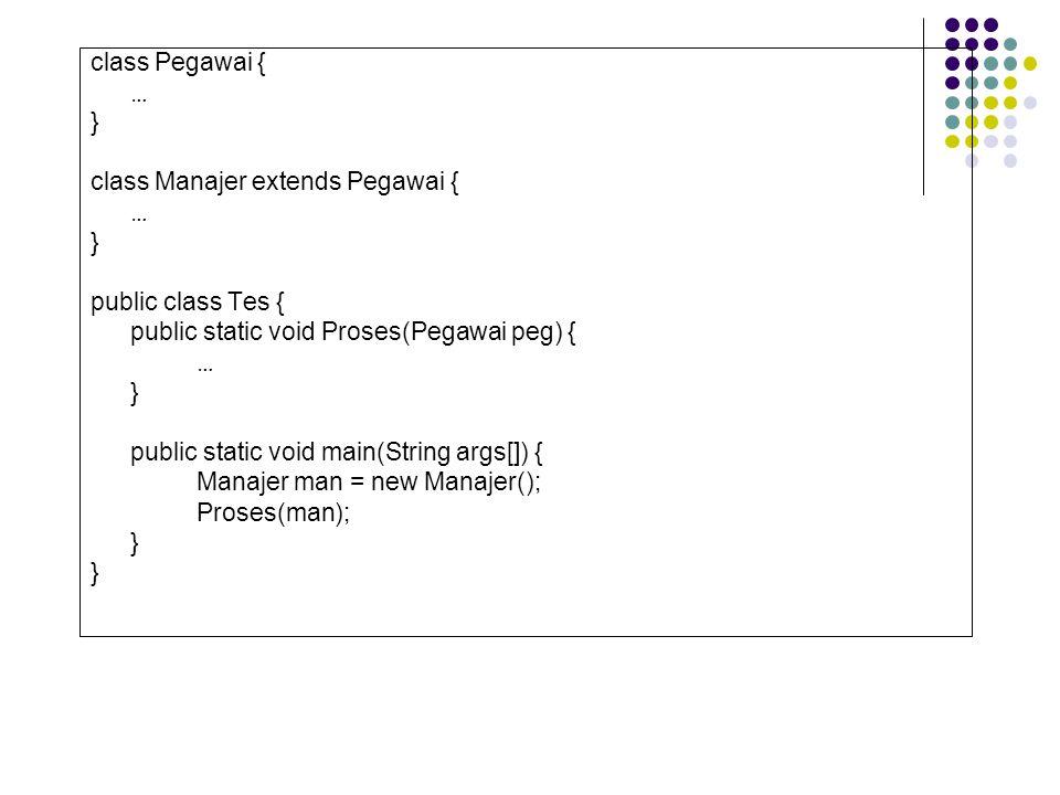 class Pegawai { … } class Manajer extends Pegawai { public class Tes { public static void Proses(Pegawai peg) {