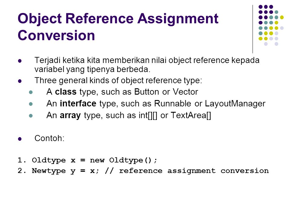 Object Reference Assignment Conversion