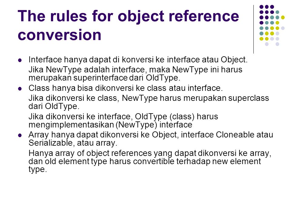The rules for object reference conversion