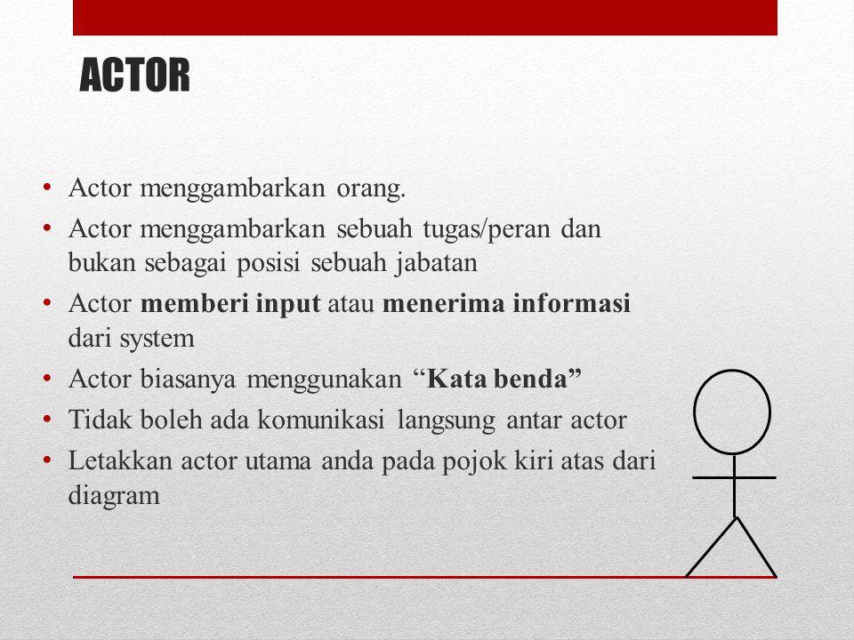 ACTOR Actor menggambarkan orang.