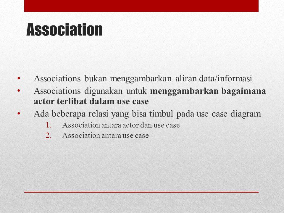 Association Associations bukan menggambarkan aliran data/informasi