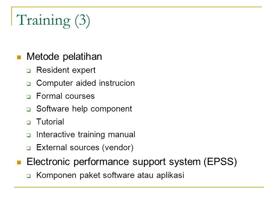 Training (3) Metode pelatihan