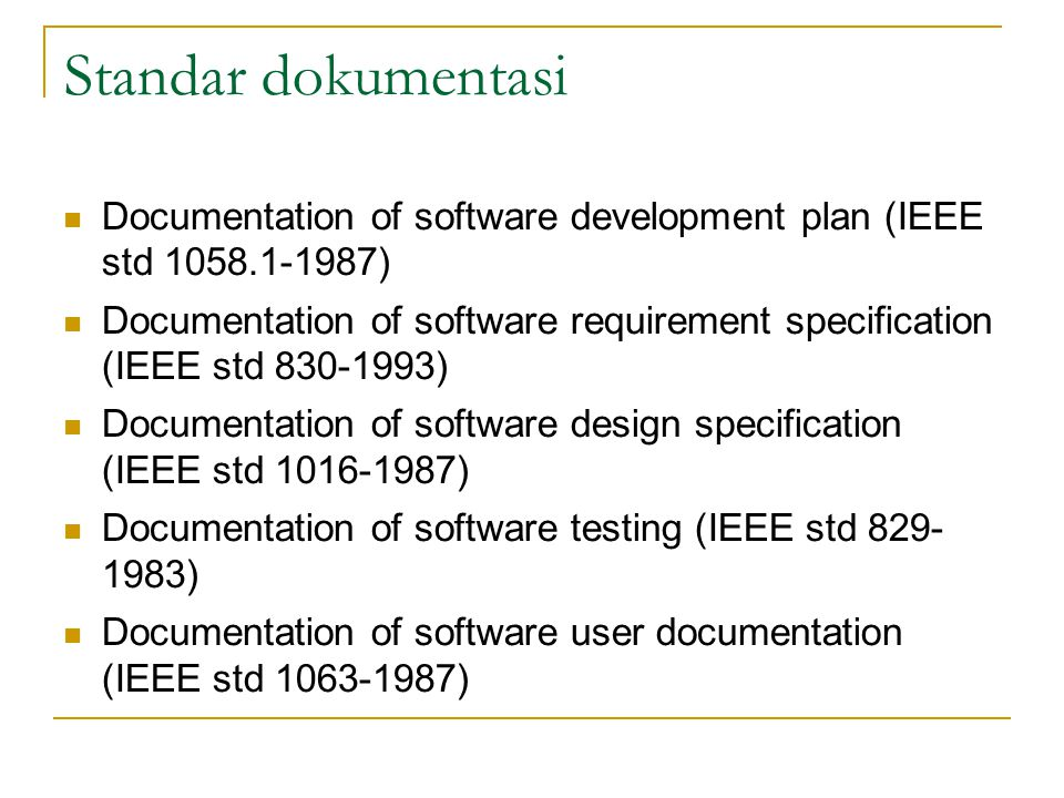 Standar dokumentasi Documentation of software development plan (IEEE std 1058.1-1987)