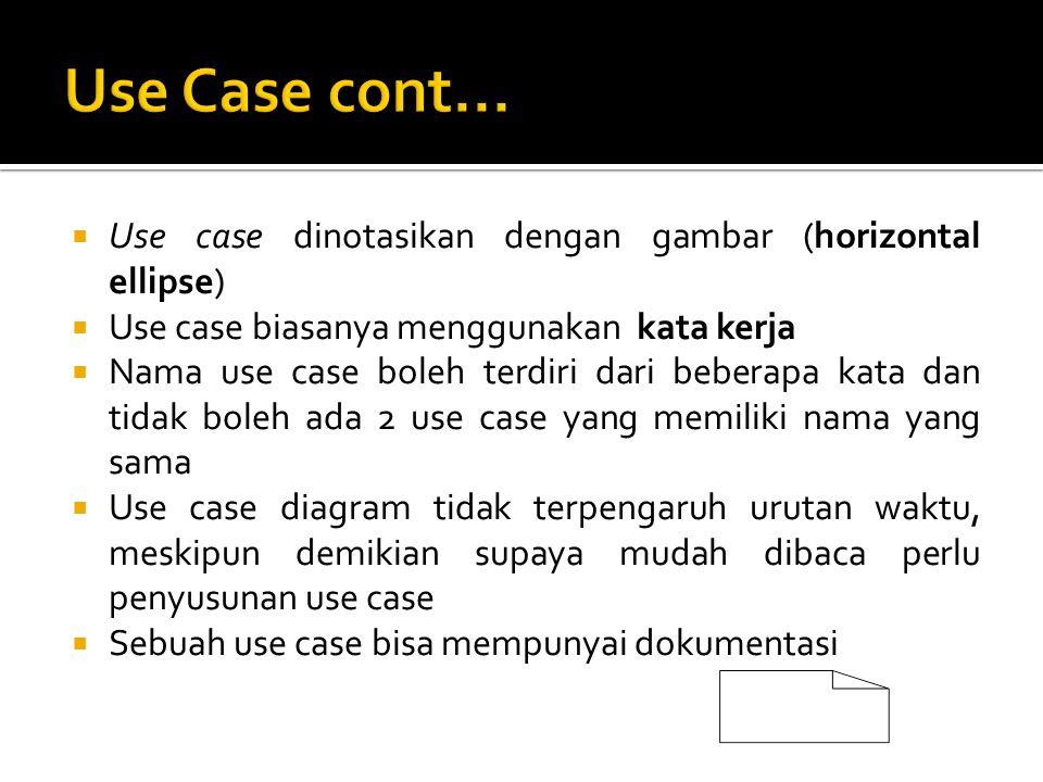 Use Case cont... Use case dinotasikan dengan gambar (horizontal ellipse) Use case biasanya menggunakan kata kerja.