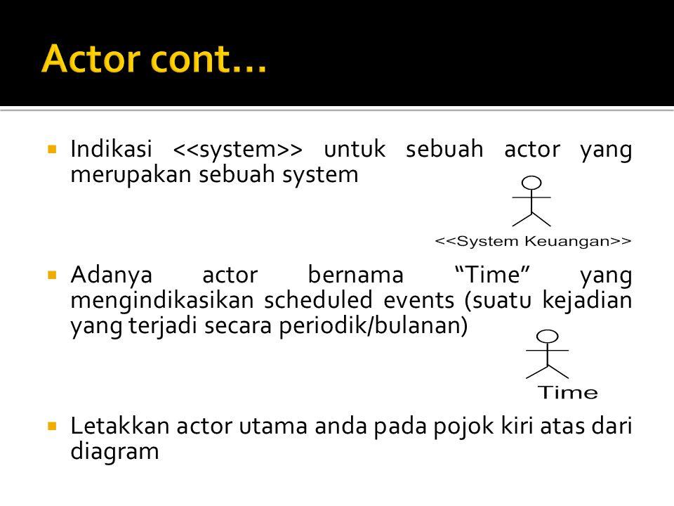 Actor cont... Indikasi <<system>> untuk sebuah actor yang merupakan sebuah system.