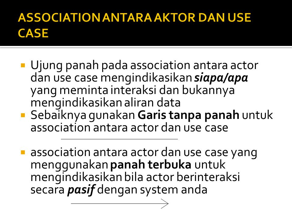 ASSOCIATION ANTARA AKTOR DAN USE CASE
