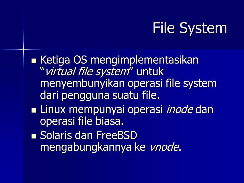 File System Ketiga OS mengimplementasikan virtual file system untuk menyembunyikan operasi file system dari pengguna suatu file.