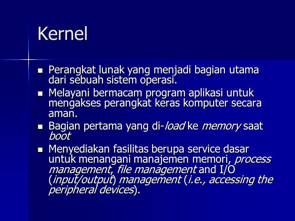 Kernel Perangkat lunak yang menjadi bagian utama dari sebuah sistem operasi.