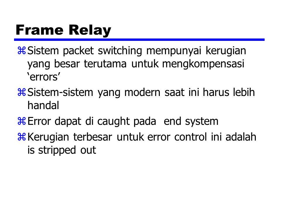Frame Relay Sistem packet switching mempunyai kerugian yang besar terutama untuk mengkompensasi 'errors'