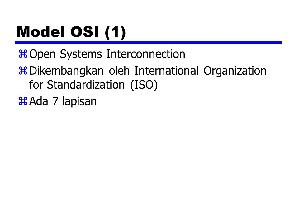 Model OSI (1) Open Systems Interconnection
