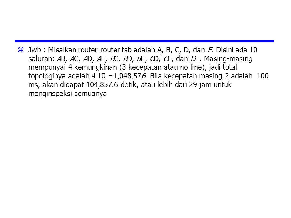 Jwb : Misalkan router-router tsb adalah A, B, C, D, dan E