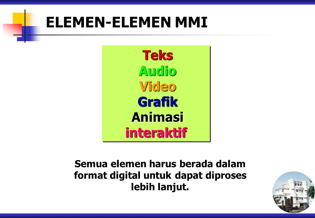 ELEMEN-ELEMEN MMI Teks Audio Video Grafik Animasi interaktif