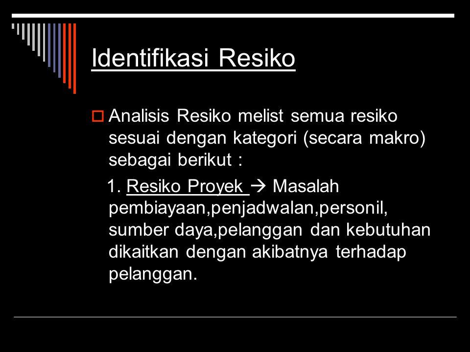 Identifikasi Resiko Analisis Resiko melist semua resiko sesuai dengan kategori (secara makro) sebagai berikut :