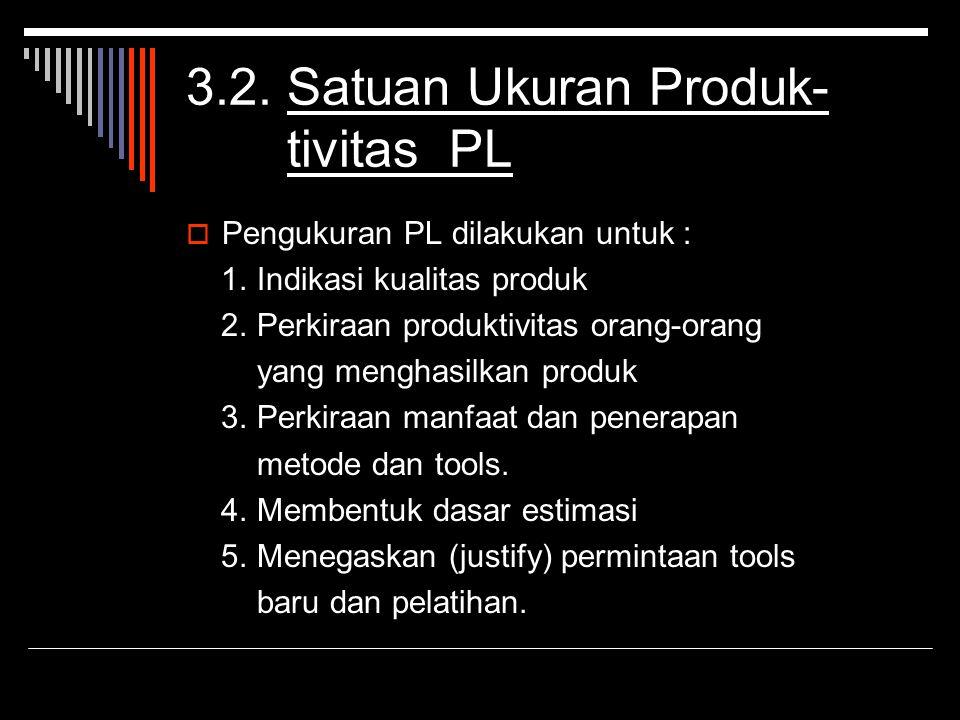 3.2. Satuan Ukuran Produk- tivitas PL