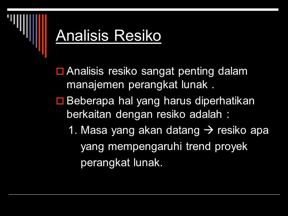 Analisis Resiko Analisis resiko sangat penting dalam manajemen perangkat lunak .