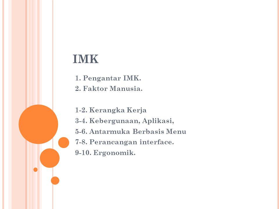 IMK 1. Pengantar IMK. 2. Faktor Manusia. 1-2. Kerangka Kerja