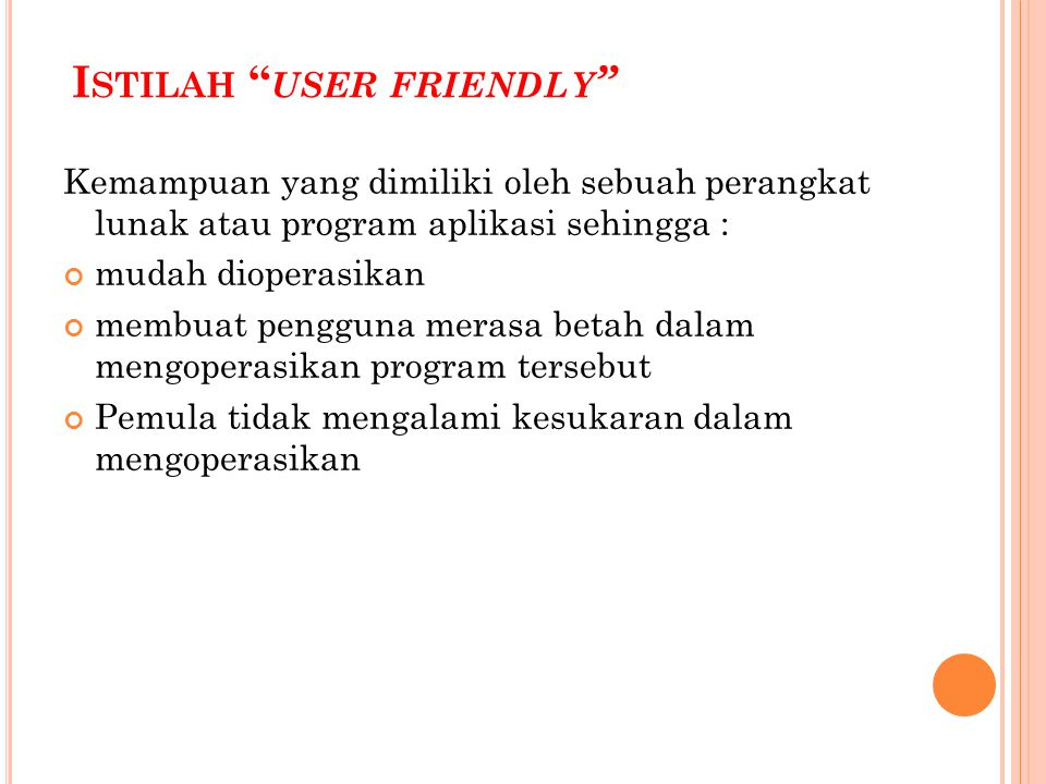 Istilah user friendly