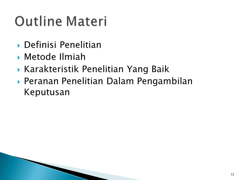 Outline Materi Definisi Penelitian Metode Ilmiah