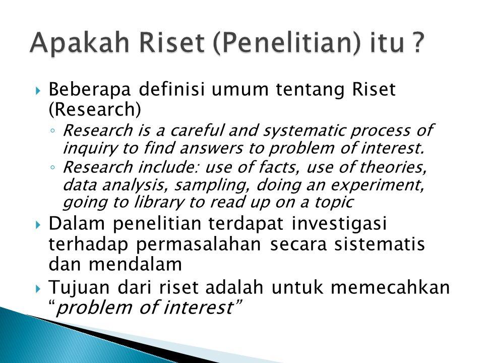 Apakah Riset (Penelitian) itu