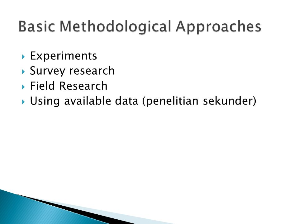 Basic Methodological Approaches