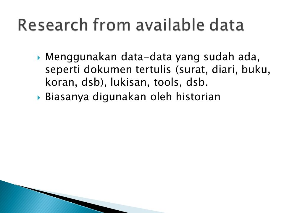 Research from available data