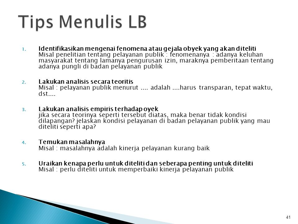 Tips Menulis LB