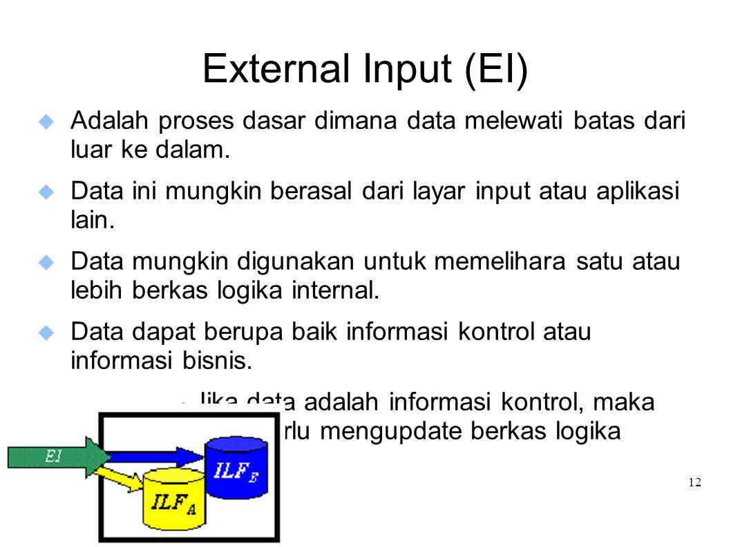 External Input (EI) Adalah proses dasar dimana data melewati batas dari luar ke dalam.