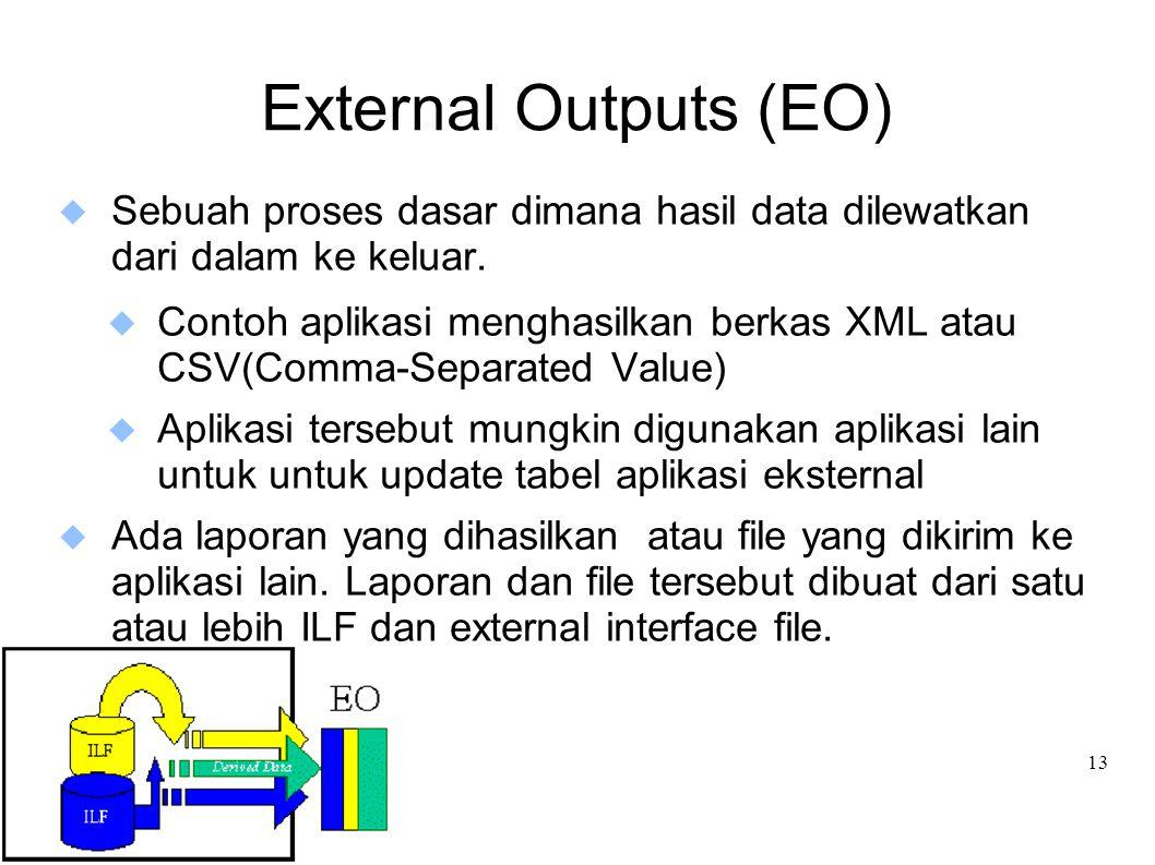 External Outputs (EO) Sebuah proses dasar dimana hasil data dilewatkan dari dalam ke keluar.