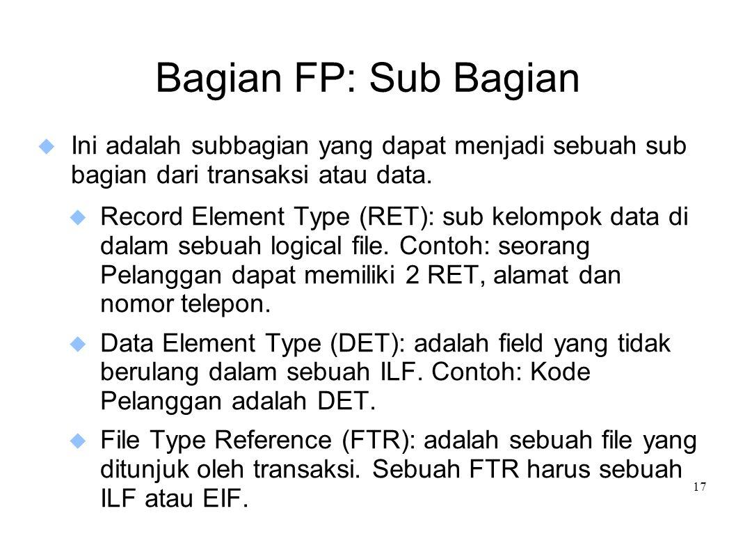 Bagian FP: Sub Bagian Ini adalah subbagian yang dapat menjadi sebuah sub bagian dari transaksi atau data.