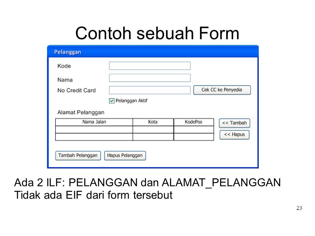 Contoh sebuah Form Ada 2 ILF: PELANGGAN dan ALAMAT_PELANGGAN