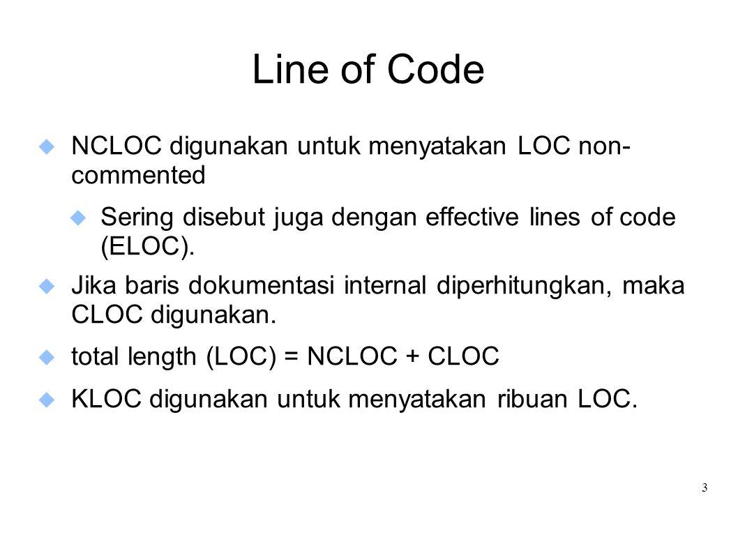 Line of Code NCLOC digunakan untuk menyatakan LOC non- commented