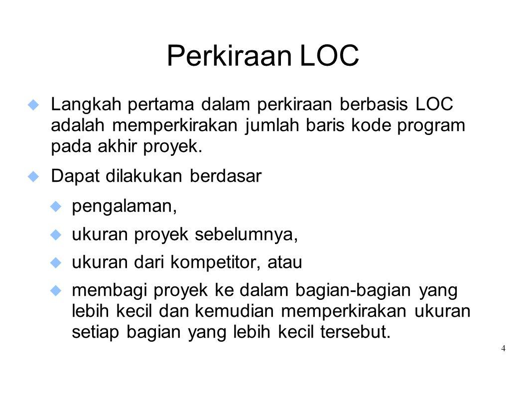 Perkiraan LOC Langkah pertama dalam perkiraan berbasis LOC adalah memperkirakan jumlah baris kode program pada akhir proyek.